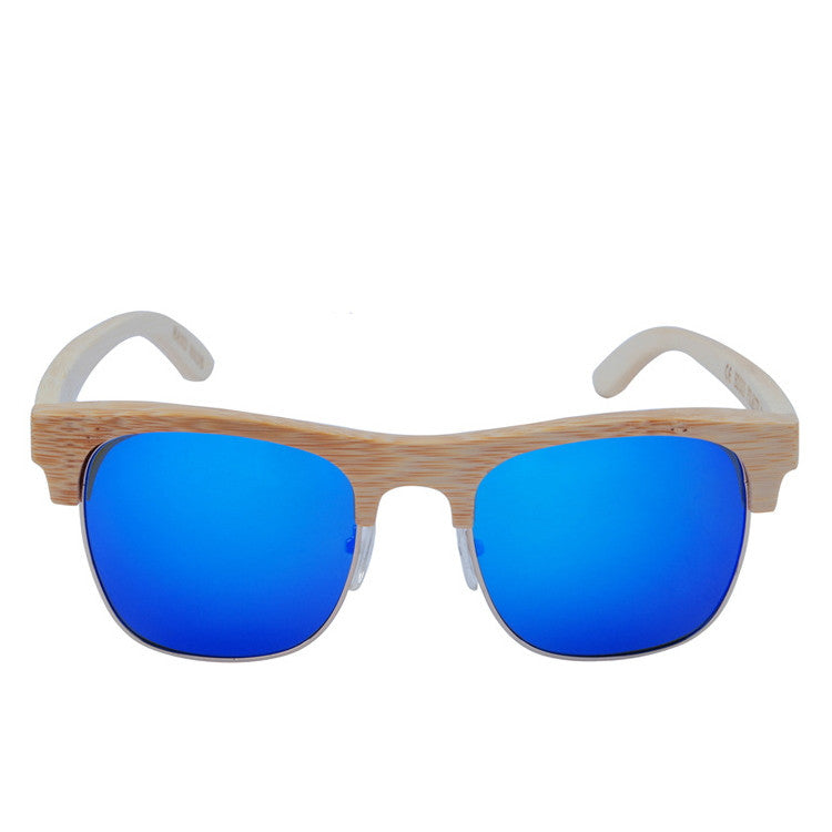 2016 Unique Retro Semi Rimless Women Wood Bamboo Sunglasses for Ladies Sun Glasses Shades Hot Sale - WowAwesomeStuff  - 3