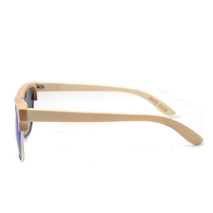 2016 Unique Retro Semi Rimless Women Wood Bamboo Sunglasses for Ladies Sun Glasses Shades Hot Sale - WowAwesomeStuff  - 4