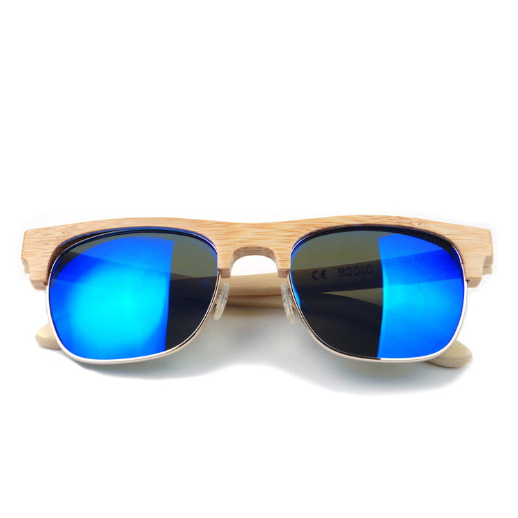 2016 Unique Retro Semi Rimless Women Wood Bamboo Sunglasses for Ladies Sun Glasses Shades Hot Sale - WowAwesomeStuff  - 2