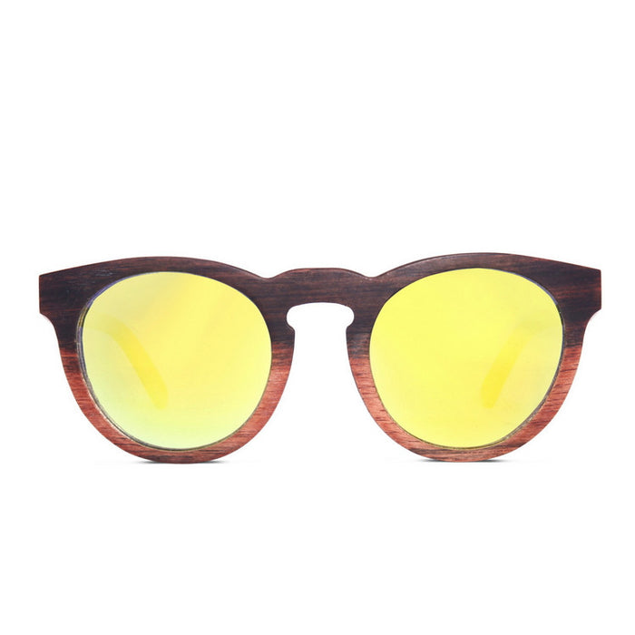 Brand New Vintage Black Grained Retro Round Wood Sunglasses for Men Women Sun Glasses Hot Sale Free Shipping 2 Colors