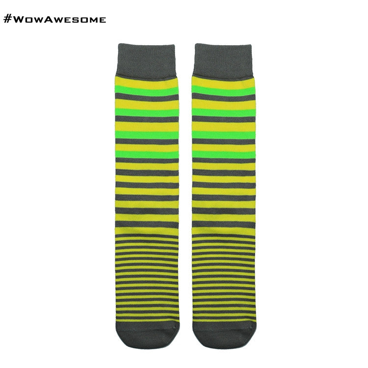 MadMatch Design MMD Yellow with Black Green Fluorescent Stripes Womens Mens Cotton Boot Casual Socks for Men Women M16B-015