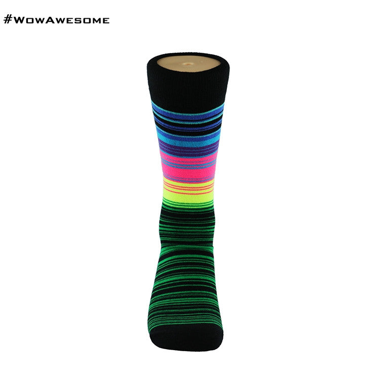 MadMatch Design MMD Black Purple Yellow Green Orange Stripes Fluorescent Stripes Womens Mens Cotton Boot Casual Socks for Men Women M16B-014