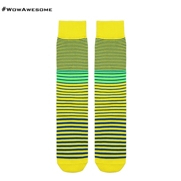 MMD Black with Blue Green Yellow Pink Fluorescent Stripes Womens Mens Cotton Boot Casual Socks for Men Women M16B-009