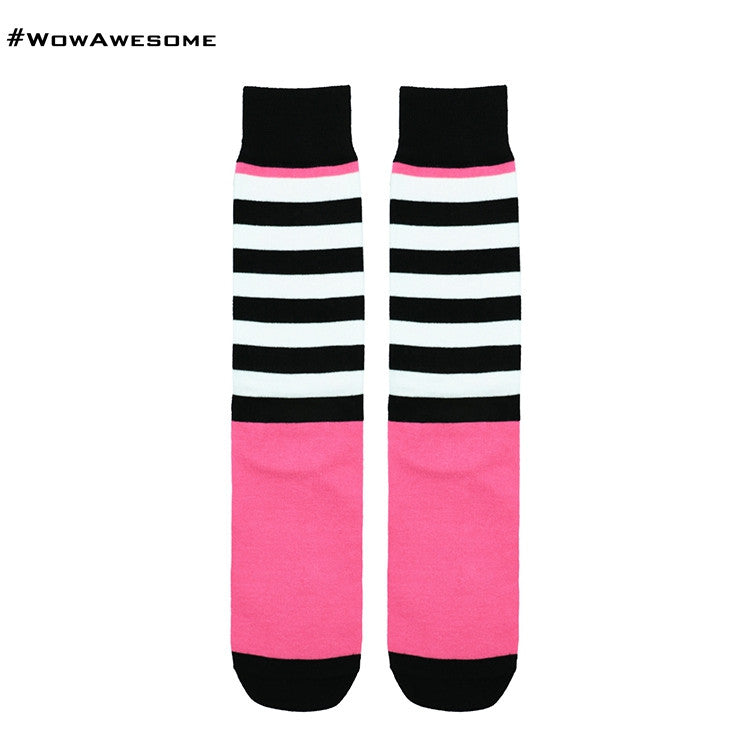 MadMatch Design MMD Pink with Black Colors Fluorescent Stripes Womens Mens Cotton Boot Casual Socks for Men Women
