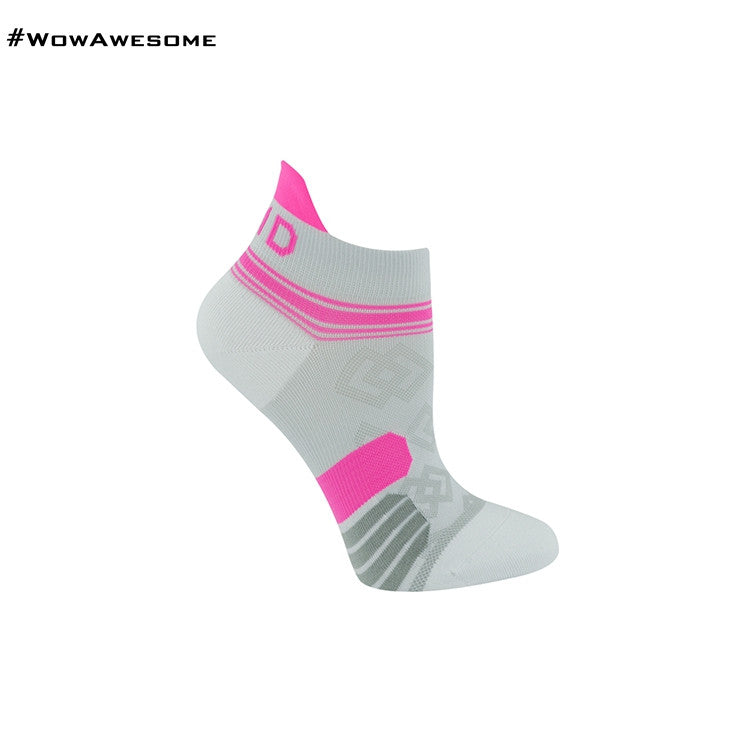 MadMatch Design MMD White Pink Womens Mens Sports Boot Ankle Socks for Men Women - WowAwesomeStuff  - 2