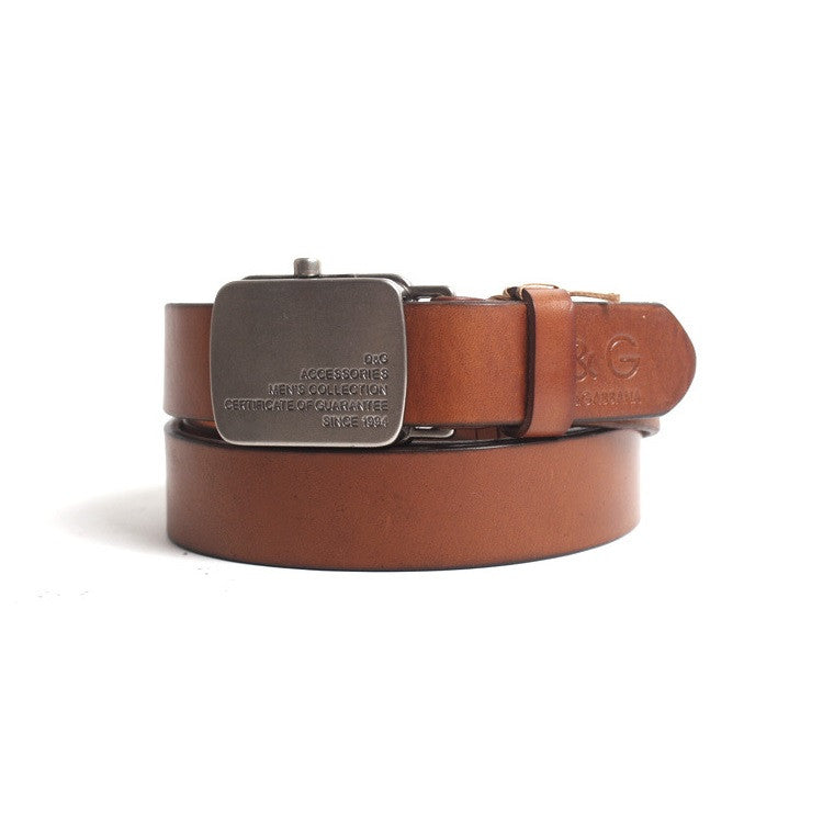 DXG Retro Vintage Real Leather Mens Buckle Belt
