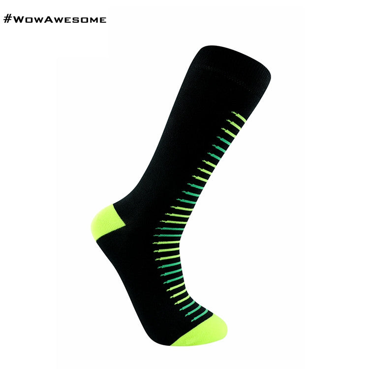 MadMatch Design MMD Black with Green Colors Fluorescent Stripes Womens Mens Cotton Boot Casual Socks for Men Women