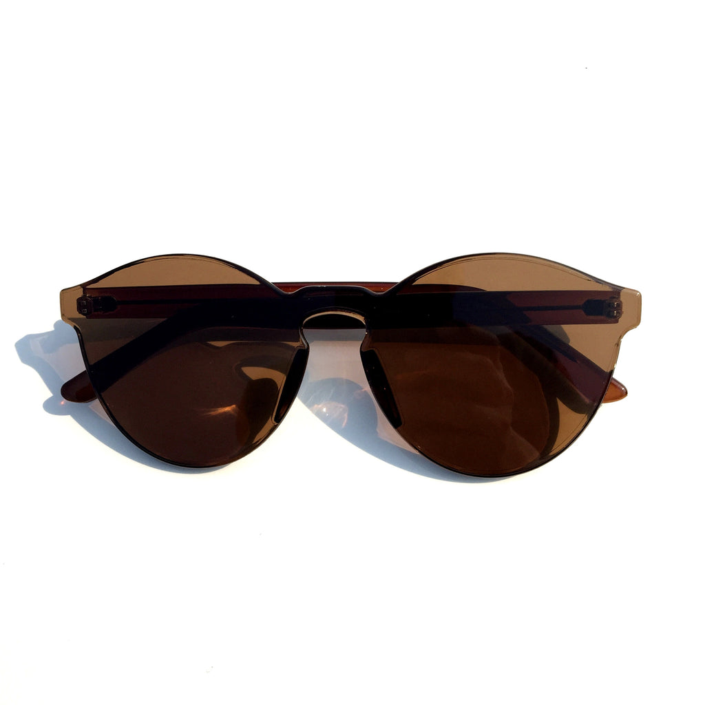 Brown Unique Design Cat Eyes Retro Integrated Sunglasses Shades Sunnies for Women Men - WowAwesomeStuff  - 2