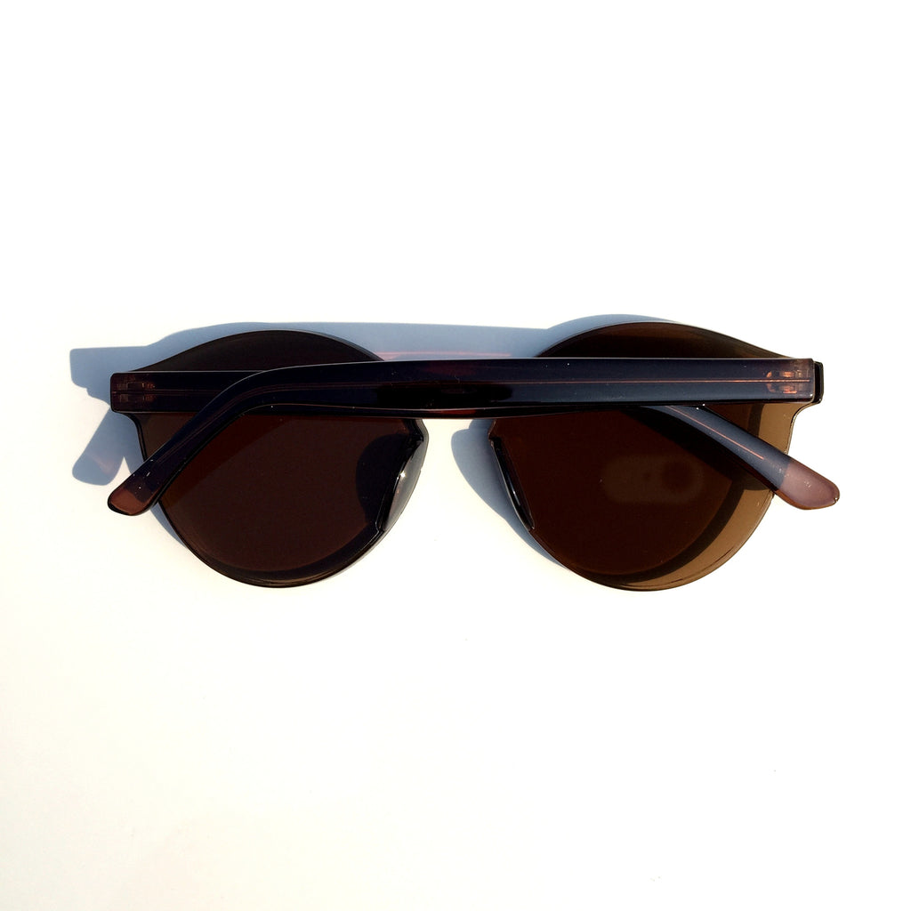 Brown Unique Design Cat Eyes Retro Integrated Sunglasses Shades Sunnies for Women Men - WowAwesomeStuff  - 3