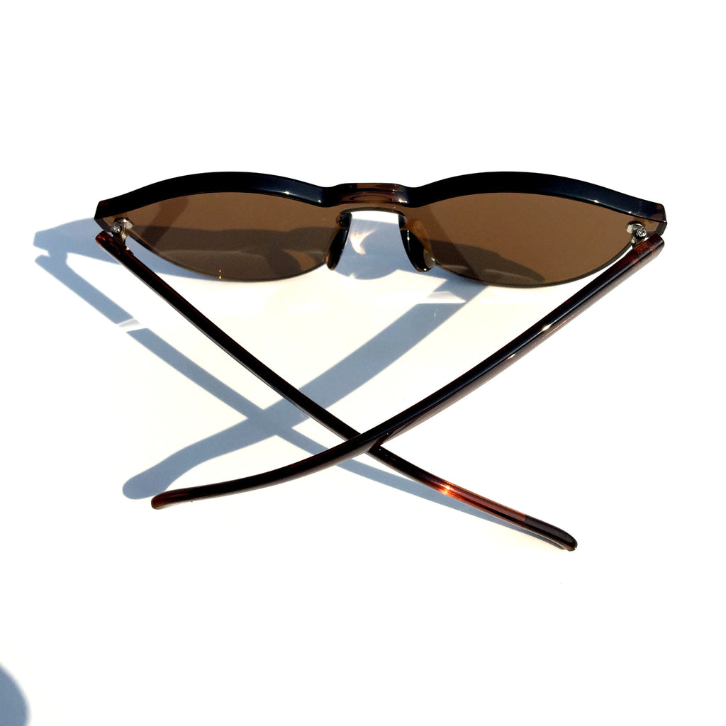 Brown Unique Design Cat Eyes Retro Integrated Sunglasses Shades Sunnies for Women Men - WowAwesomeStuff  - 4