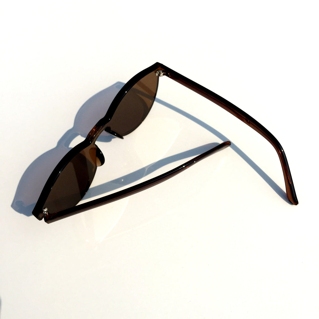 Brown Unique Design Cat Eyes Retro Integrated Sunglasses Shades Sunnies for Women Men - WowAwesomeStuff  - 5