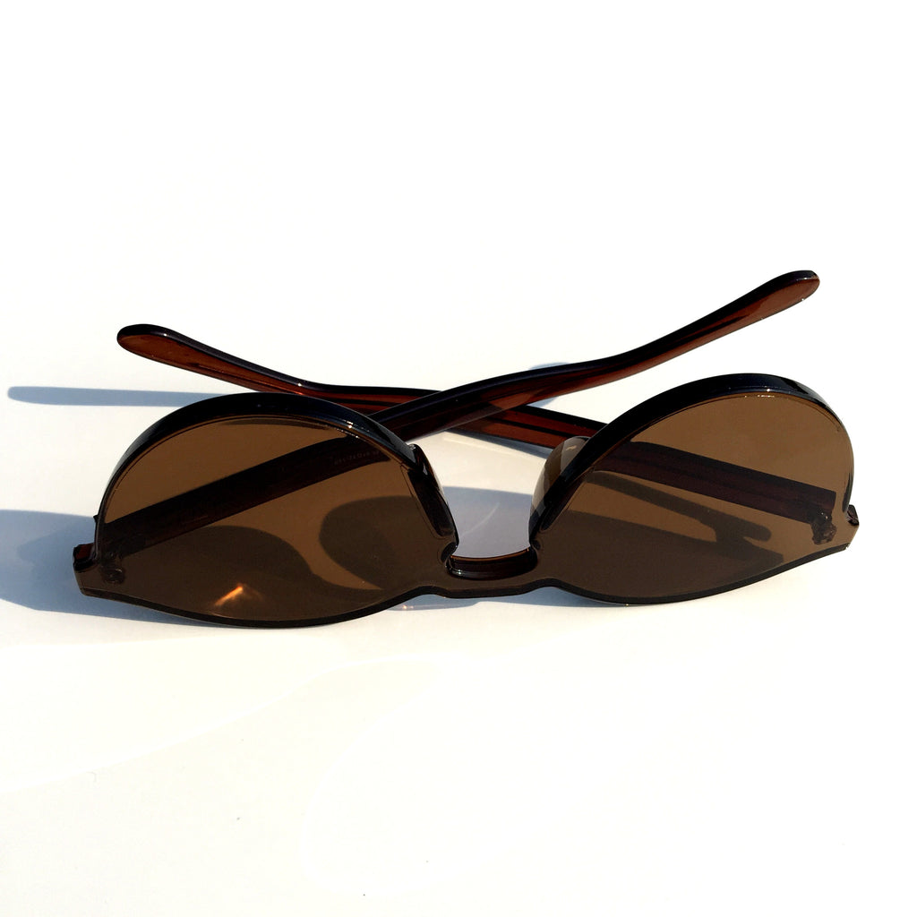 Brown Unique Design Cat Eyes Retro Integrated Sunglasses Shades Sunnies for Women Men - WowAwesomeStuff  - 6