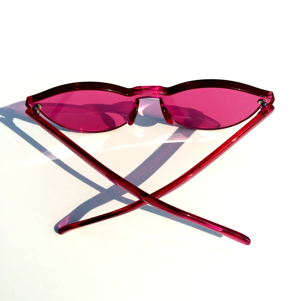 Rose Red Cat Eyes Rimless Sunglasses Shades Goggle - WowAwesomeStuff  - 3