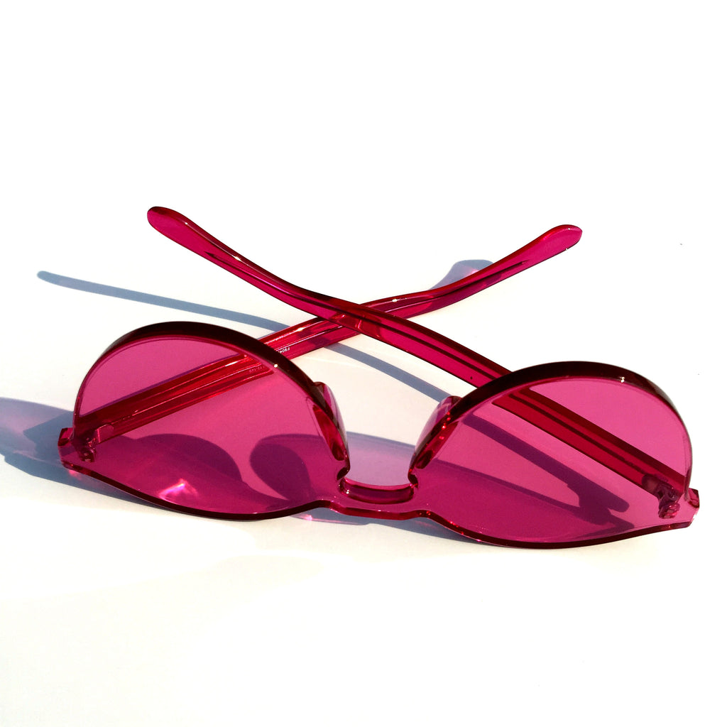 Rose Red Cat Eyes Rimless Sunglasses Shades Goggle - WowAwesomeStuff  - 4