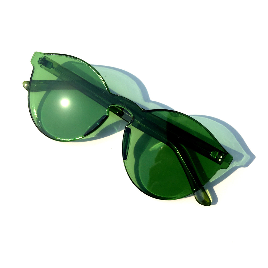 Green Frameless Unique Design Vintage Retro Rimless Incomparable Cat Eyes Sunglasses Sun Glasses for Women Men - WowAwesomeStuff  - 2