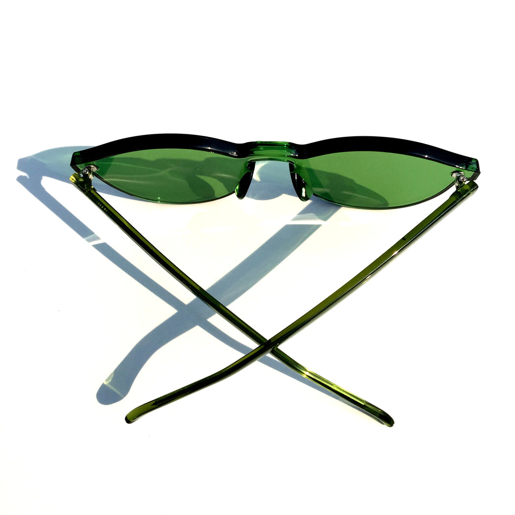 Green Frameless Unique Design Vintage Retro Rimless Incomparable Cat Eyes Sunglasses Sun Glasses for Women Men - WowAwesomeStuff  - 4
