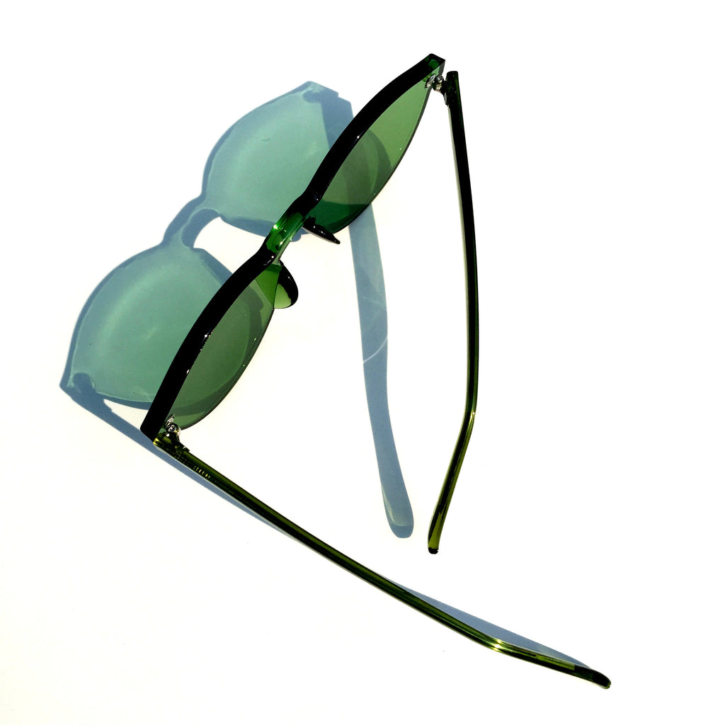 Green Frameless Unique Design Vintage Retro Rimless Incomparable Cat Eyes Sunglasses Sun Glasses for Women Men - WowAwesomeStuff  - 5