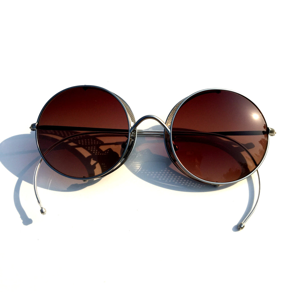 Women Men Vintage Retro Style Brown Gothic Gotik Hagritt Folding Goggles Sunglasses Shades Sun Glasses - WowAwesomeStuff  - 2