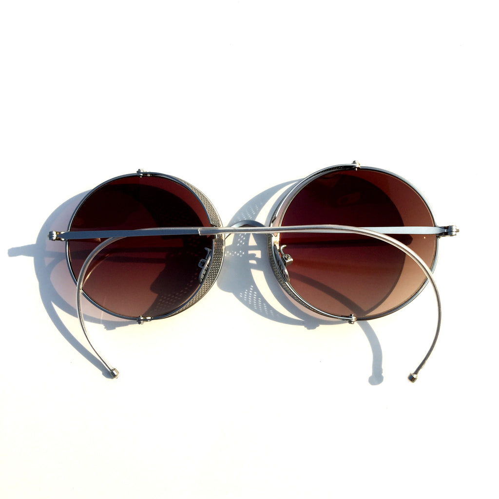 Women Men Vintage Retro Style Brown Gothic Gotik Hagritt Folding Goggles Sunglasses Shades Sun Glasses - WowAwesomeStuff  - 3