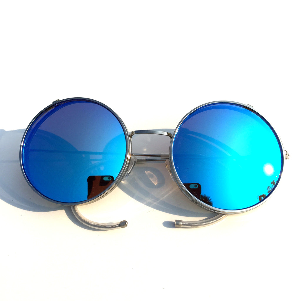 Vintage Retro Style Collapsible Blue Steampunk Punk Goggle Sunglasses Shades for Women Men - WowAwesomeStuff  - 2
