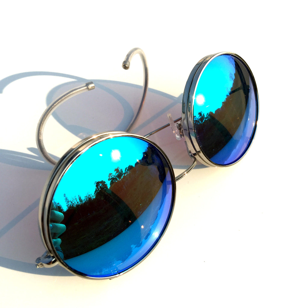 Vintage Retro Style Collapsible Blue Steampunk Punk Goggle Sunglasses Shades for Women Men - WowAwesomeStuff  - 4