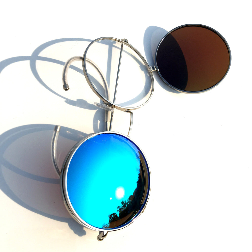 Vintage Retro Style Collapsible Blue Steampunk Punk Goggle Sunglasses Shades for Women Men - WowAwesomeStuff  - 6