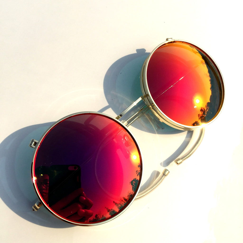Orange Round Steampunk Punk Goggle Sunglasses Shades - WowAwesomeStuff  - 2