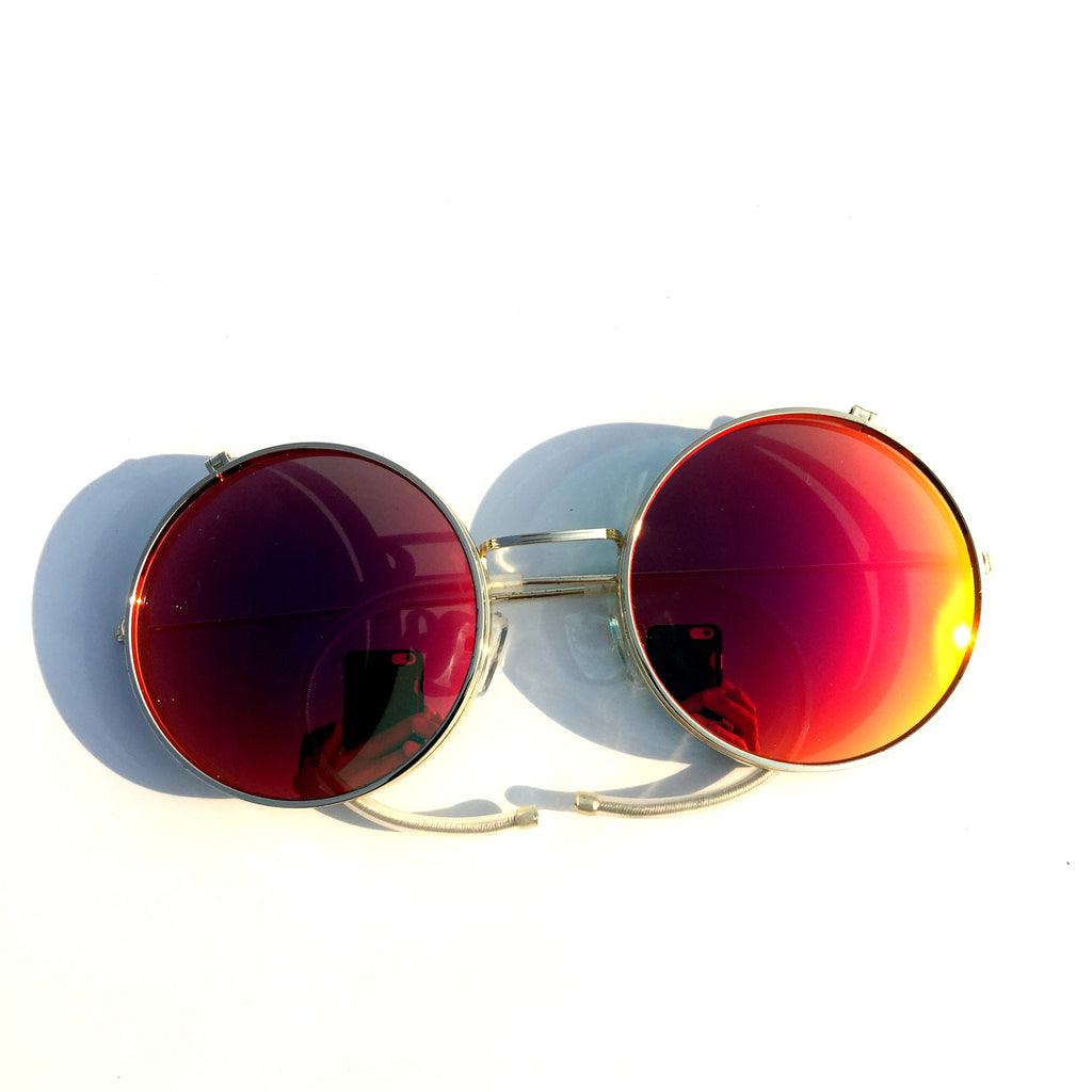Orange Round Steampunk Punk Goggle Sunglasses Shades - WowAwesomeStuff  - 3