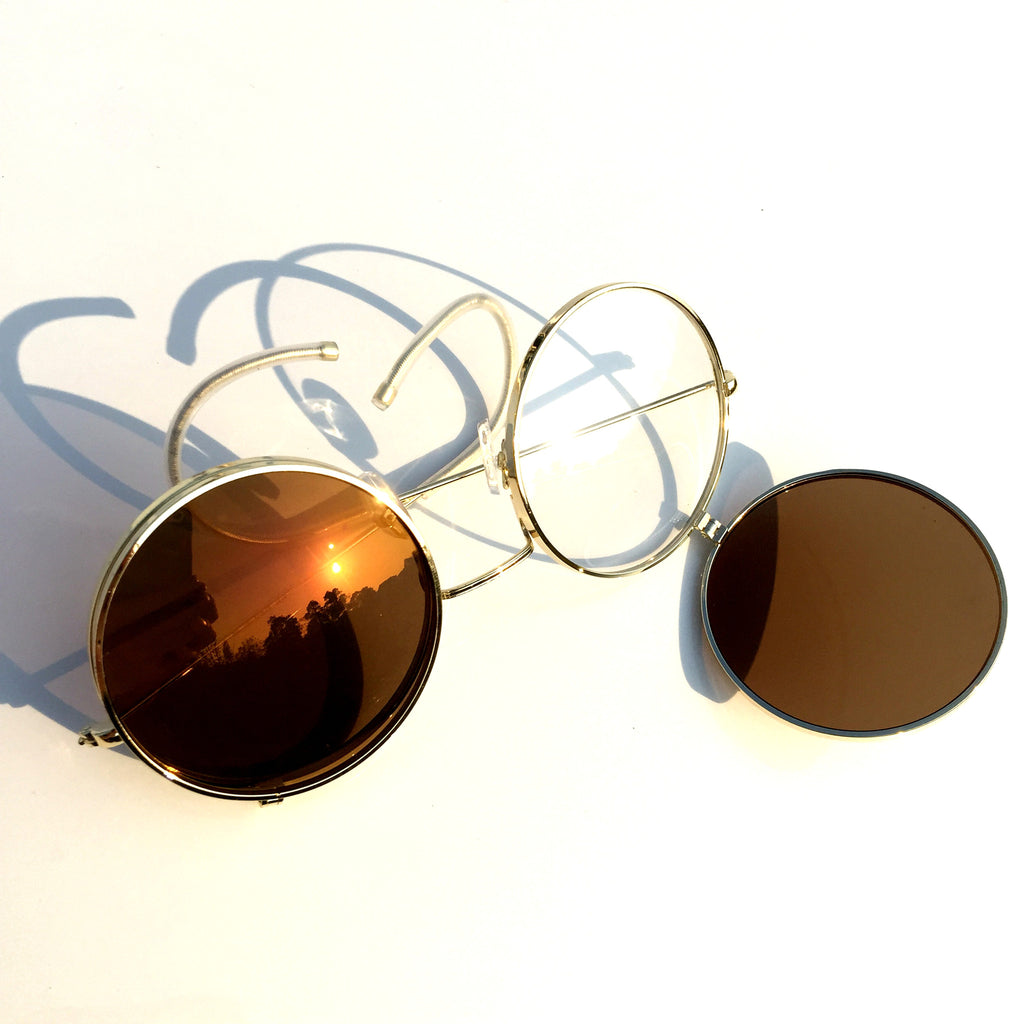 Vintage Retro Steampunk Punk Style Women Men Brown Goggle Sunglasses Shades Sun Glasses - WowAwesomeStuff  - 2