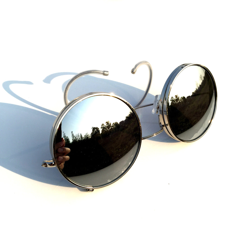 Mirrored Silver Steampunk Punk Burning Man Goggle Sunglasses Shades - WowAwesomeStuff  - 4