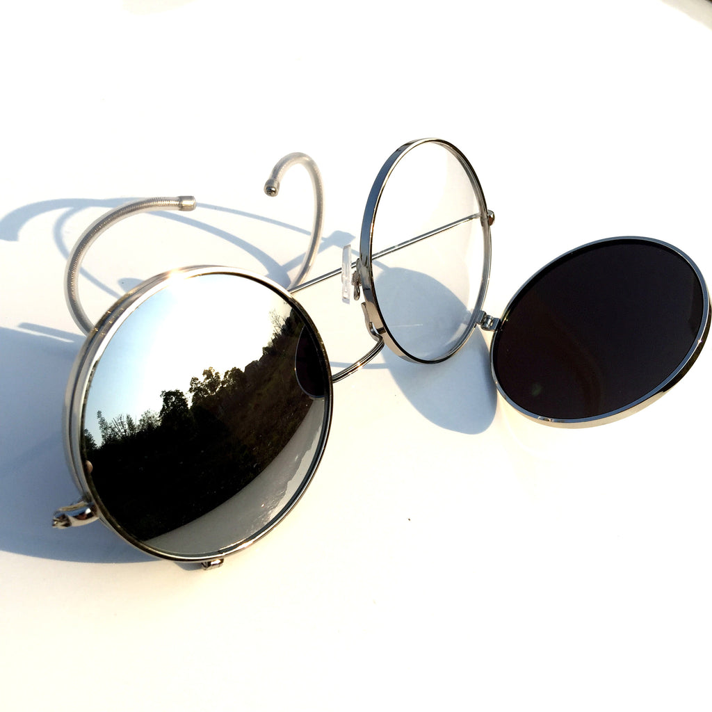 Mirrored Silver Steampunk Punk Burning Man Goggle Sunglasses Shades - WowAwesomeStuff  - 5