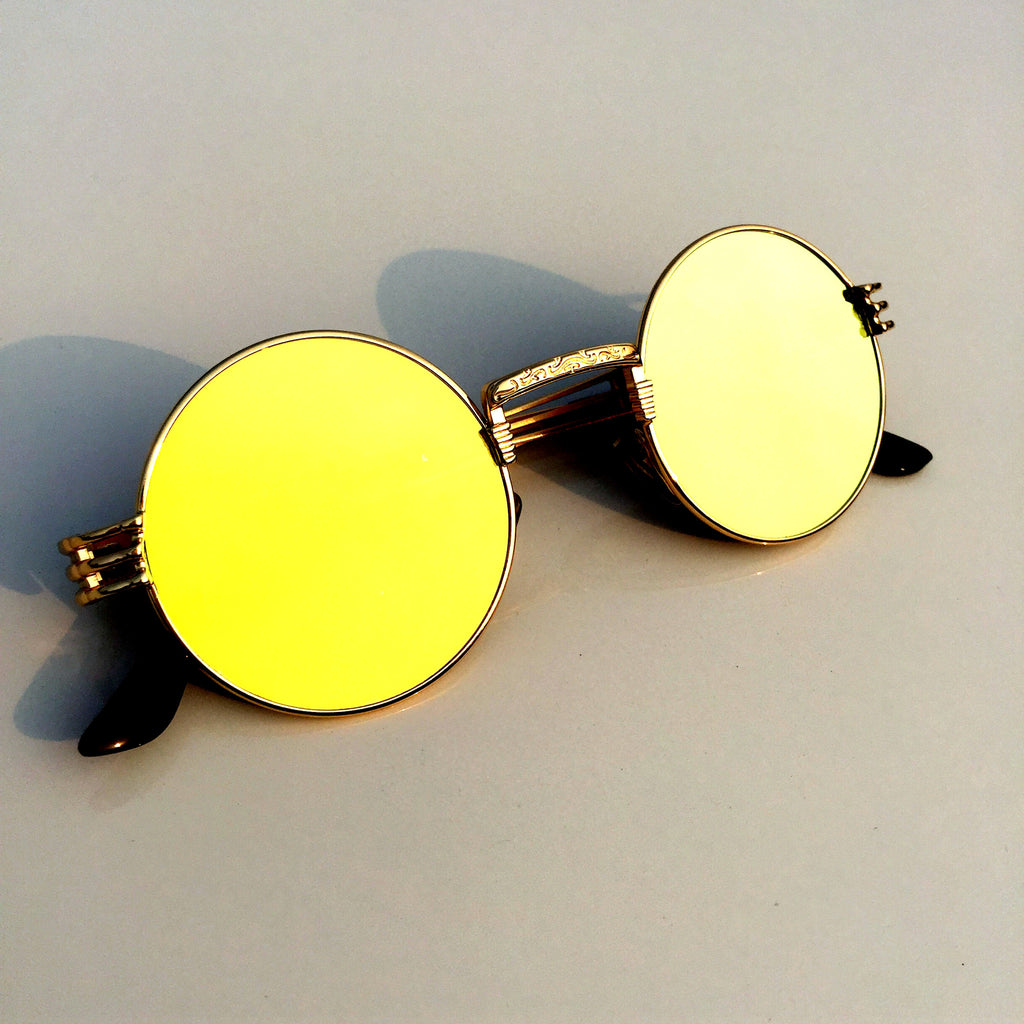 Golden Unique Steampunk Punk Vintage Style Retro Round Sunglasses Shades Goggles Sun Glasses for Men Women - WowAwesomeStuff  - 1