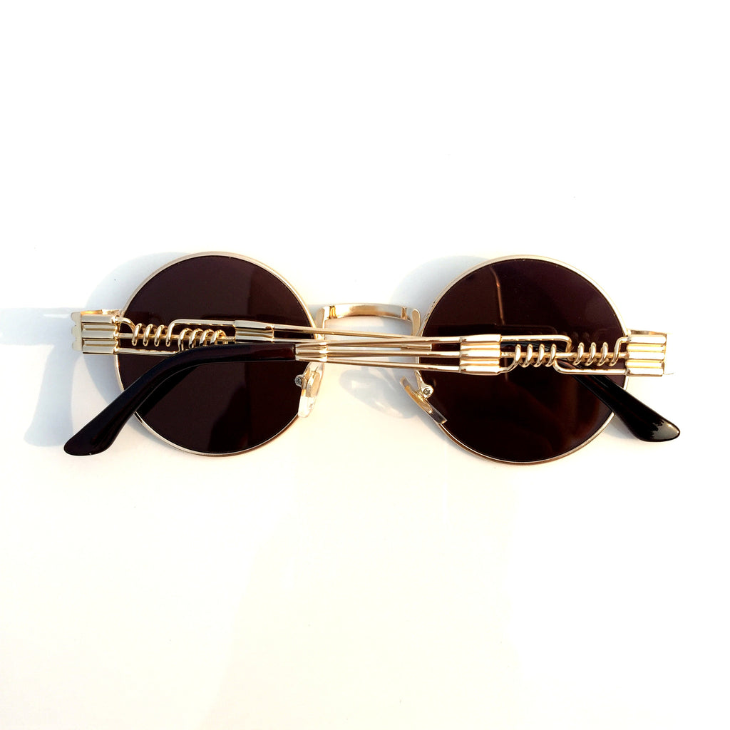 Golden Unique Steampunk Punk Vintage Style Retro Round Sunglasses Shades Goggles Sun Glasses for Men Women - WowAwesomeStuff  - 3