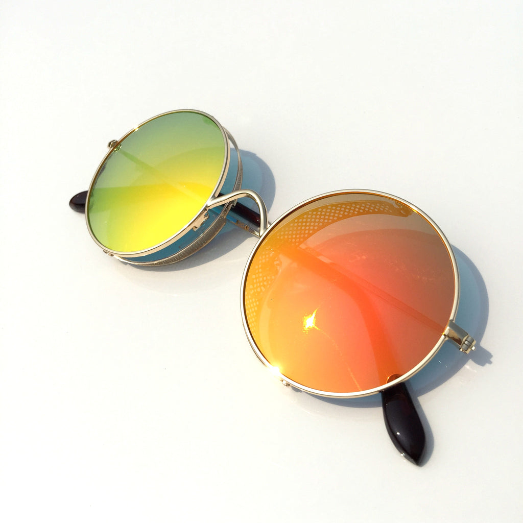 Orange Golden Steampunk Punk Sunglasses Shades Goggle - WowAwesomeStuff  - 2