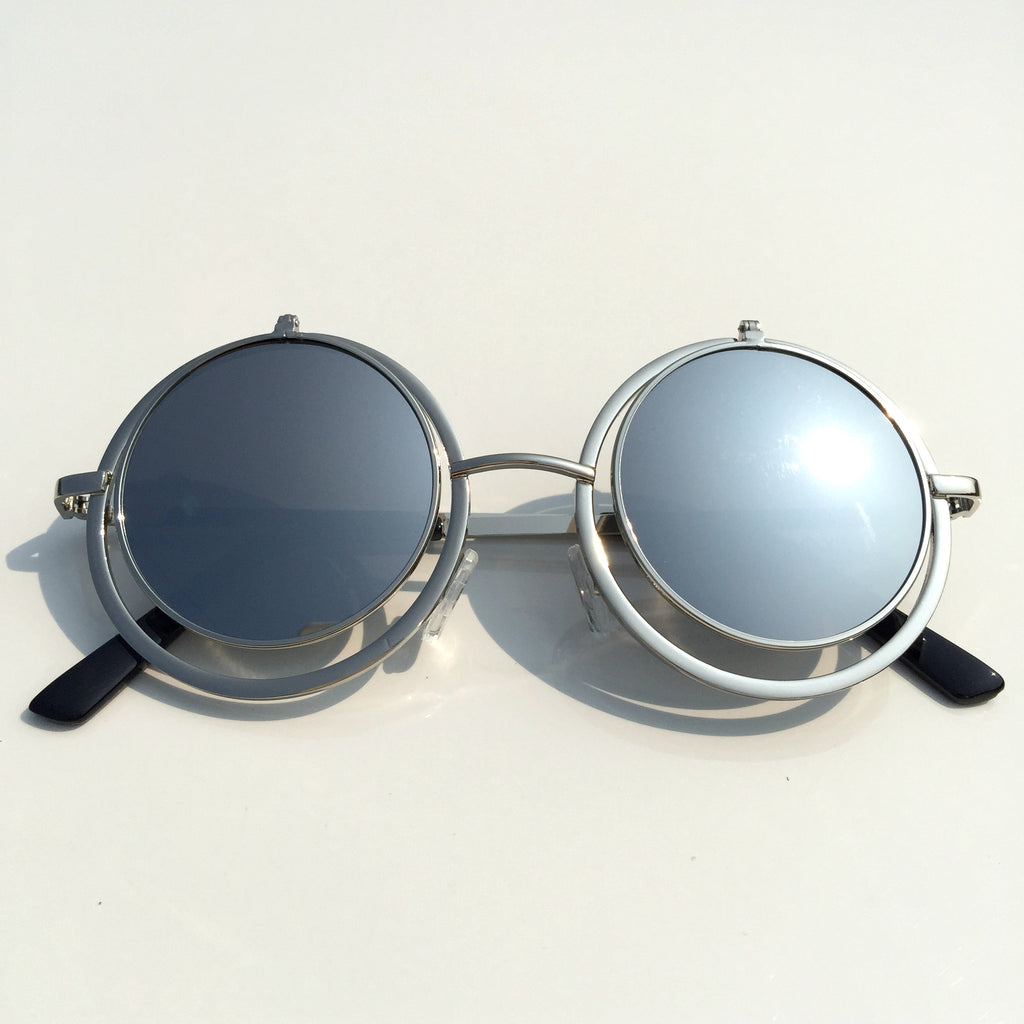 Silver Mirrored Steampunk Flip Up Sunglasses Goggle Shades - WowAwesomeStuff  - 2