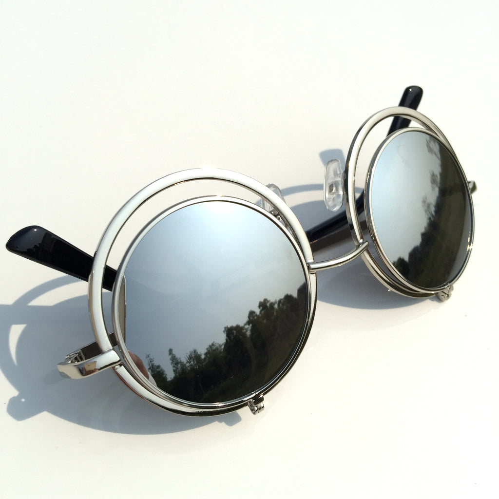 Silver Mirrored Steampunk Flip Up Sunglasses Goggle Shades - WowAwesomeStuff  - 6