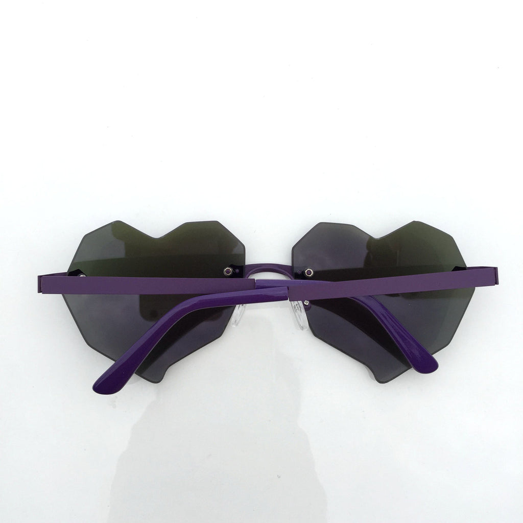 Purple Heart Shape Burning Man Unique Sunglasses Shades Sunnies - WowAwesomeStuff  - 2