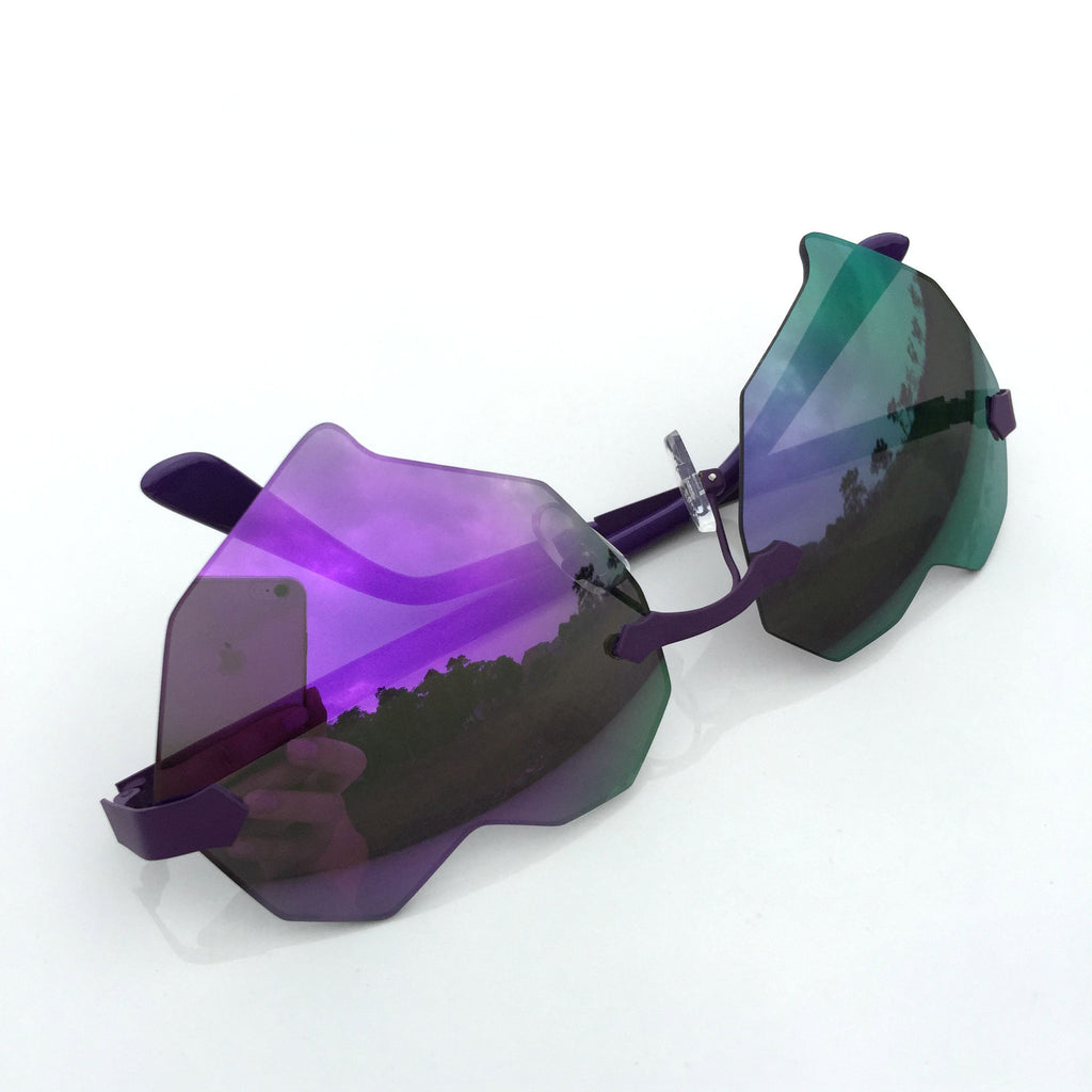 Purple Heart Shape Burning Man Unique Sunglasses Shades Sunnies - WowAwesomeStuff  - 4