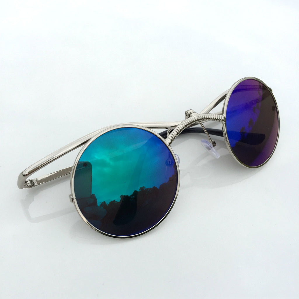 GreenBlue Round Retro Vintage Steampunk Burning Man Sunglasses Shades Sunnies - WowAwesomeStuff  - 2