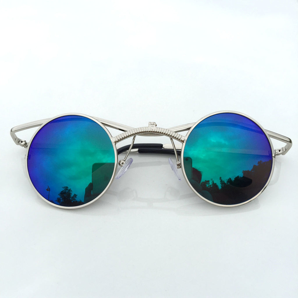 GreenBlue Round Retro Vintage Steampunk Burning Man Sunglasses Shades Sunnies - WowAwesomeStuff  - 3
