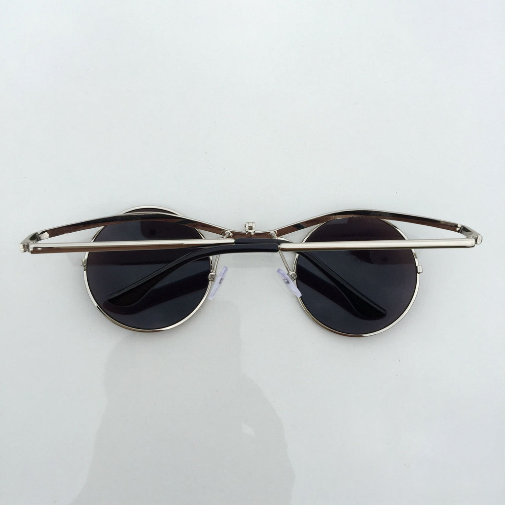 GreenBlue Round Retro Vintage Steampunk Burning Man Sunglasses Shades Sunnies - WowAwesomeStuff  - 4