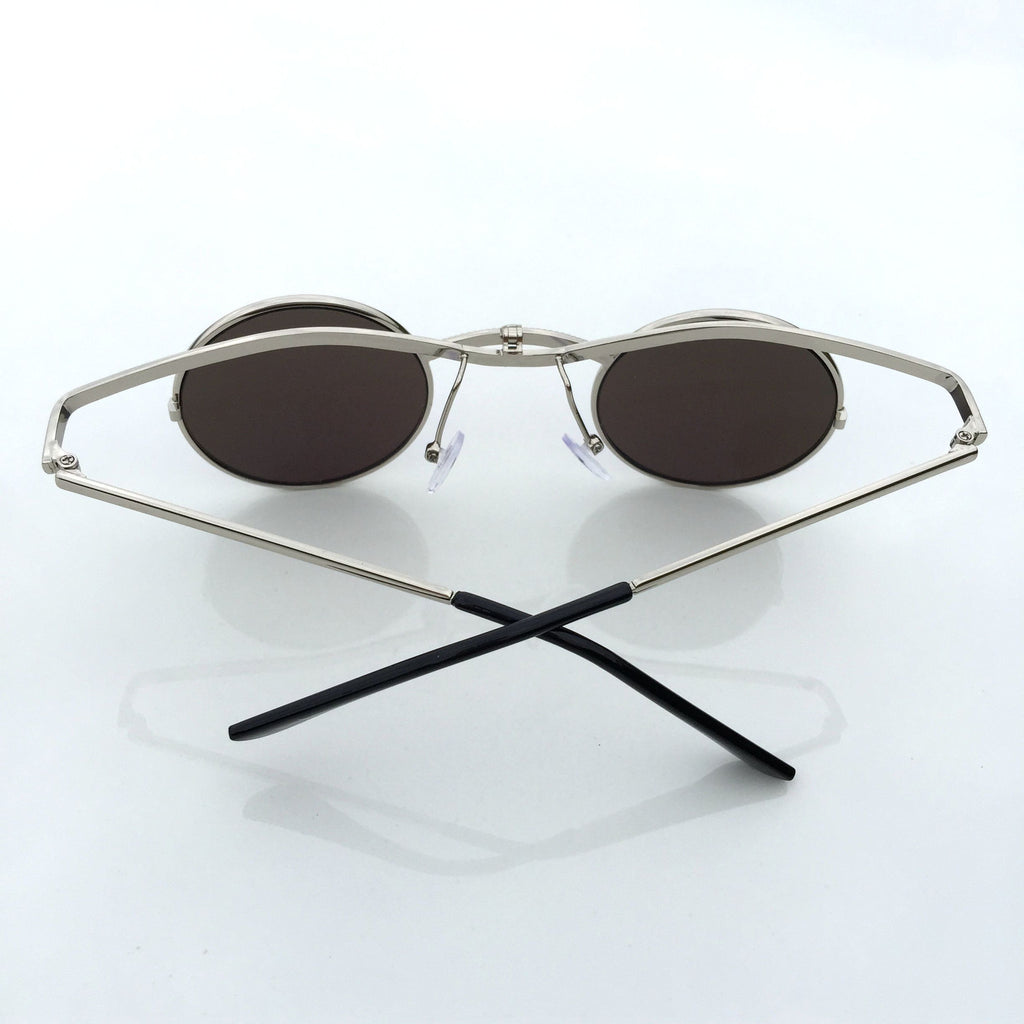 GreenBlue Round Retro Vintage Steampunk Burning Man Sunglasses Shades Sunnies - WowAwesomeStuff  - 5