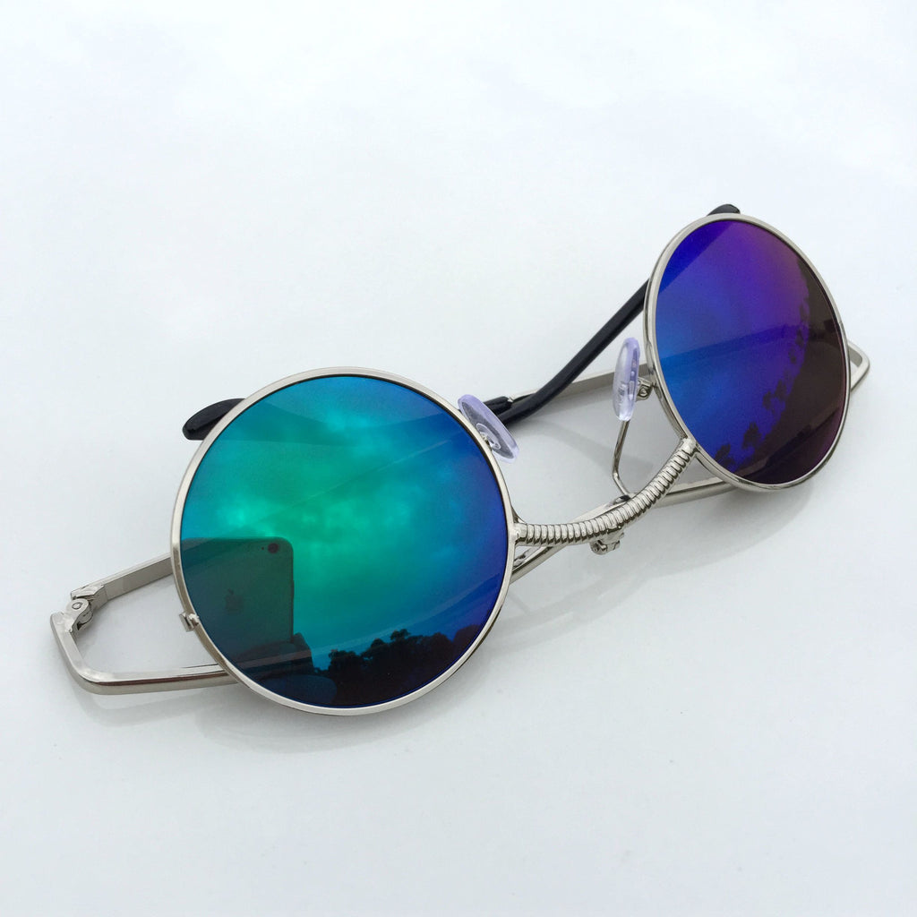 GreenBlue Round Retro Vintage Steampunk Burning Man Sunglasses Shades Sunnies - WowAwesomeStuff  - 6