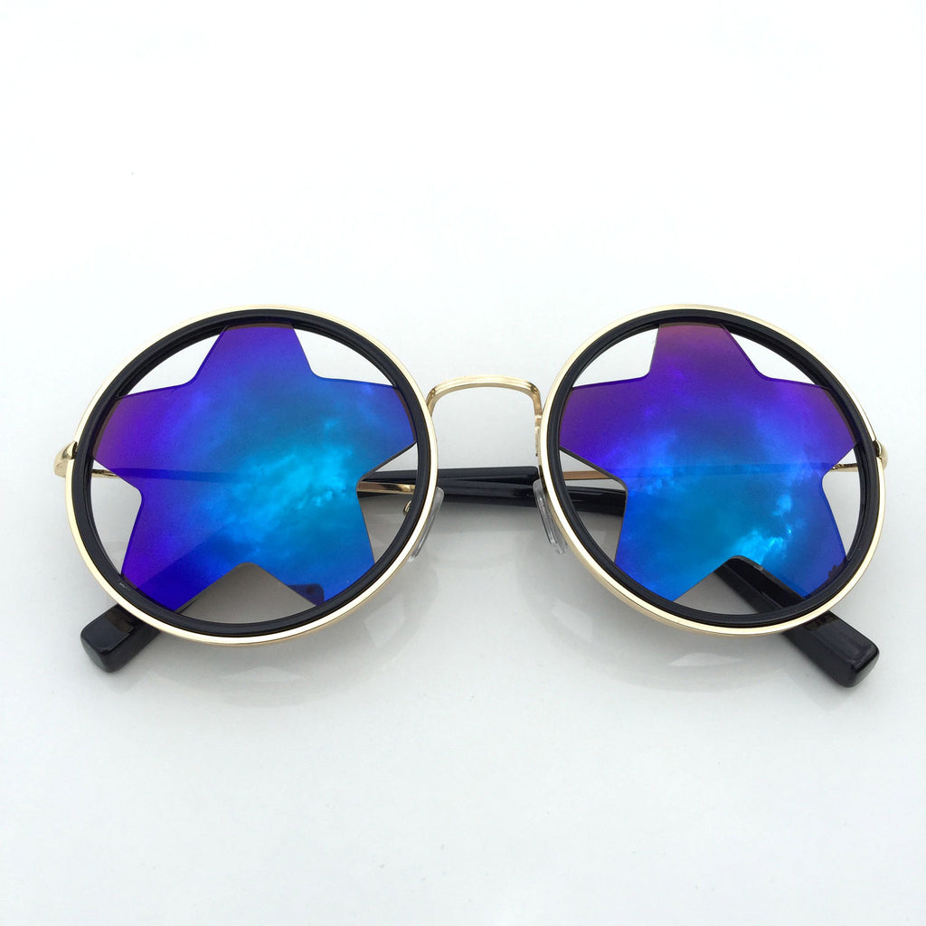 1 WowAwesome Unique Design Blue Stars Retro Punk Sunglasses Shades Sunnies Goggles - WowAwesomeStuff  - 2