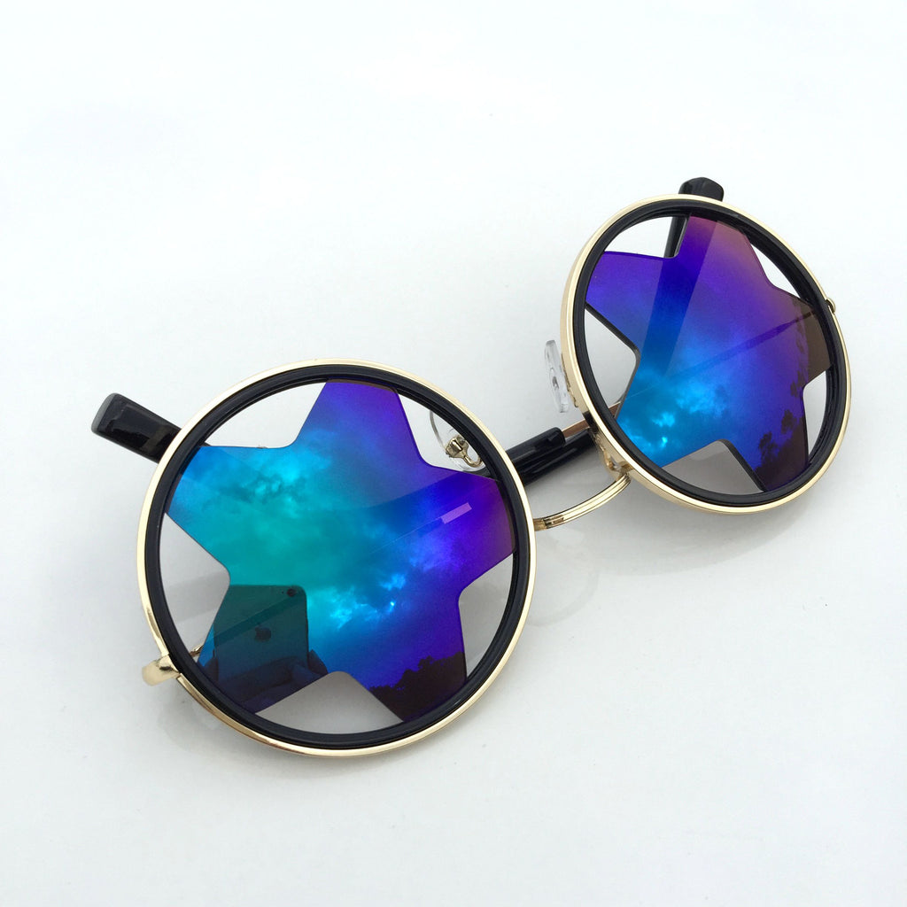 1 WowAwesome Unique Design Blue Stars Retro Punk Sunglasses Shades Sunnies Goggles - WowAwesomeStuff  - 5
