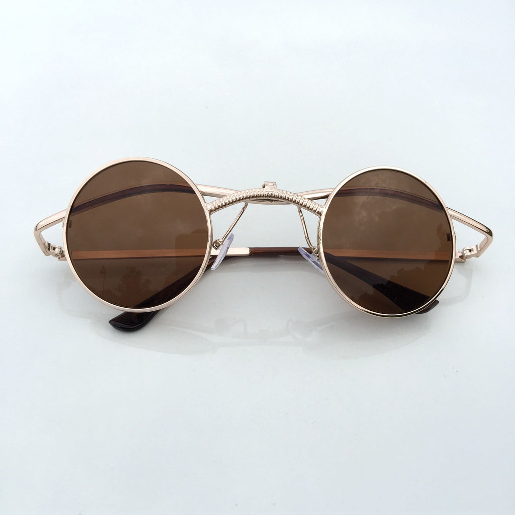 Brown Folded Steampunk Burning Man Punk Mens Womens Sunglasses Shades Sunnies - WowAwesomeStuff  - 2