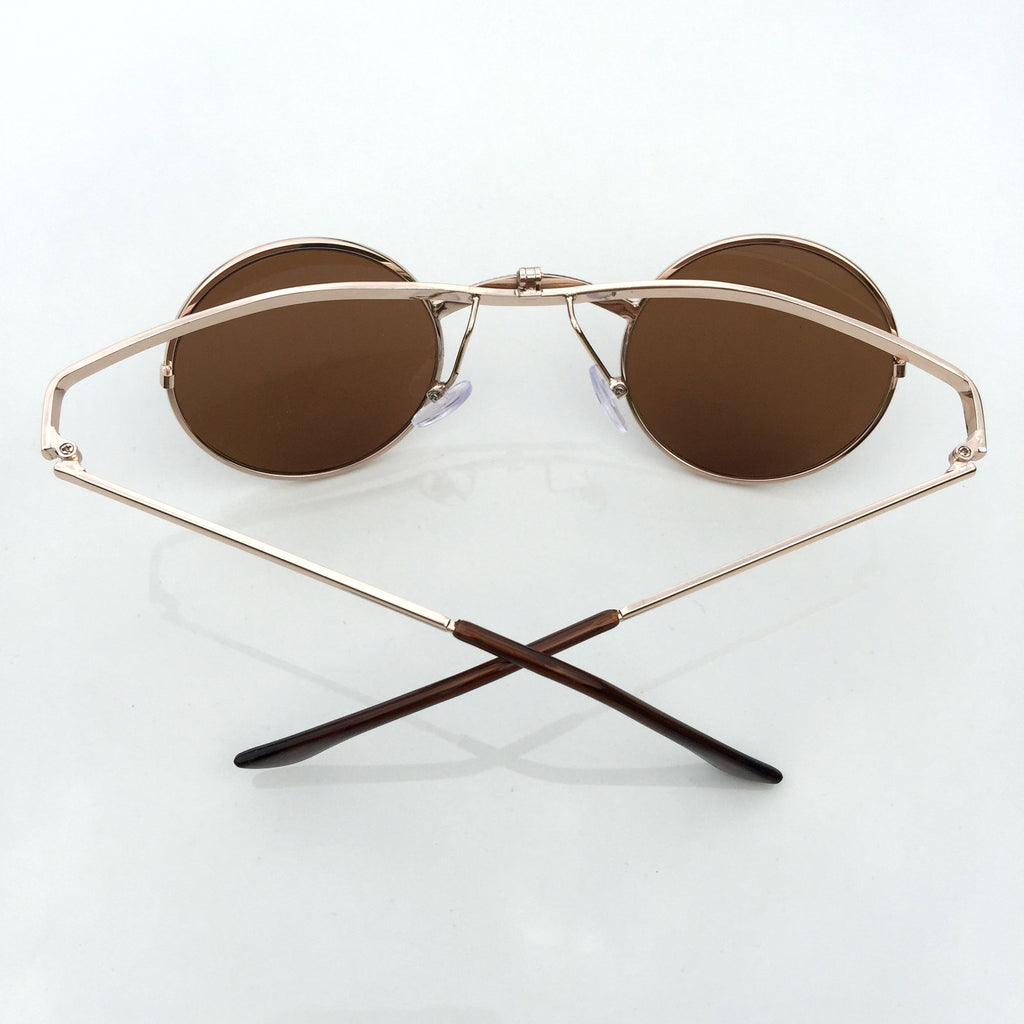 Brown Folded Steampunk Burning Man Punk Mens Womens Sunglasses Shades Sunnies - WowAwesomeStuff  - 3