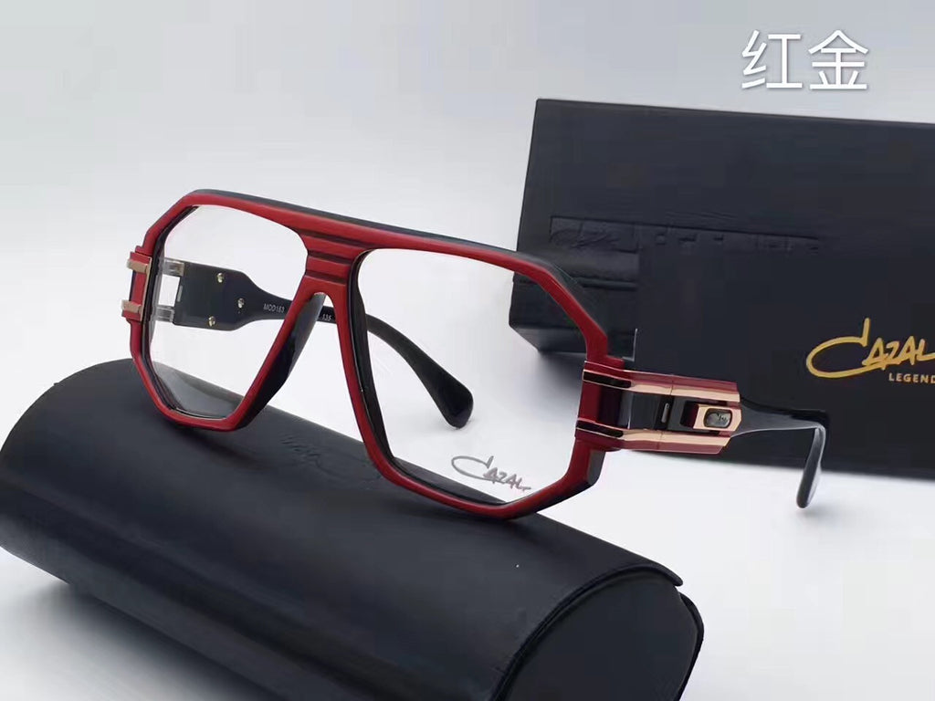 Cazal VINTAGE 163 CHIEF DESIGNER RED Womens Mens Aviator Spectacles Eyewear Eyeglasses with Clear Lens Sunglasses Goggles