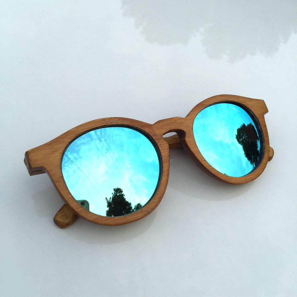 Unique Blue Cat Eye Handmade Bamboo Sunglasses Shades Sunnies Goggles - WowAwesomeStuff  - 3