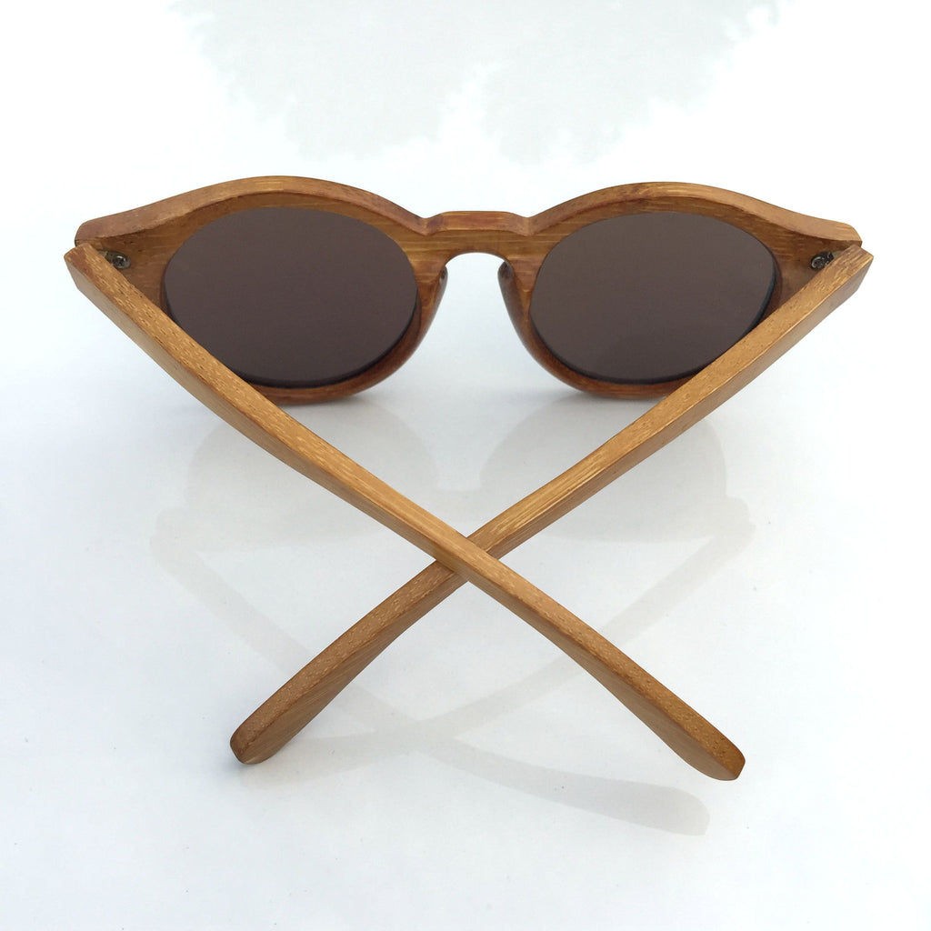 Unique Blue Cat Eye Handmade Bamboo Sunglasses Shades Sunnies Goggles - WowAwesomeStuff  - 5